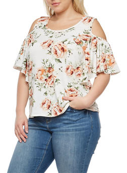 Plus Size Rose Print Cold Shoulder Top - 8429054265243