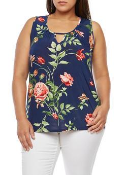 Plus Size Floral Keyhole Tank Top - 8429054265253