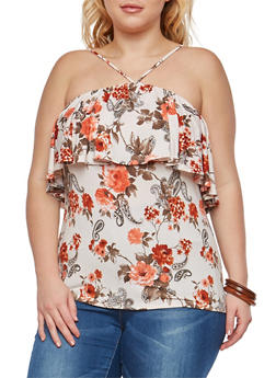 Plus Size Floral Print Ruffle Top - 8429054265261