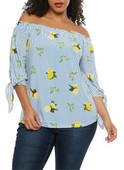Plus Size Lemon Print Off the Shoulder Top - 8429056121587