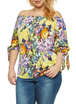 Plus Size Floral Off the Shoulder Top with Tie Sleeves - 8429056121589