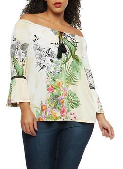 Plus Size Floral Tassel Off the Shoulder Top - 8429056122590