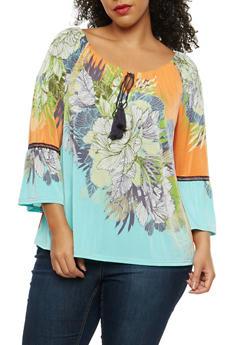 Plus Size Tropical Floral Tassel Top - 8429056122591