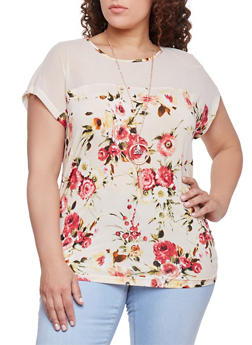 Plus Size Short Sleeve Floral Top with Mesh Yolk - 8429058751768