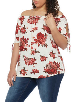 Plus Size Floral Off the Shoulder Top with Necklace - 8429058756813