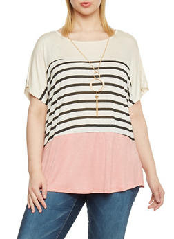 Plus Size Short Sleeve Striped Colorblock Top with Necklace - 8429058757405
