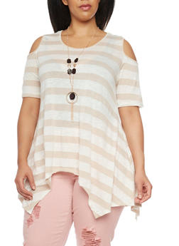 Plus Size Cold Shoulder Striped Asymmetrical Top with Necklace - 8429058758037