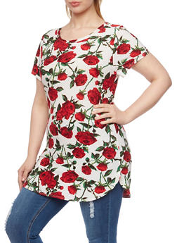 Plus Size Tunic Top with Floral Print - 8429058938940