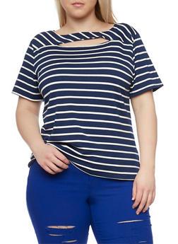 Plus Size Striped Cut Out T Shirt - 8429062701585