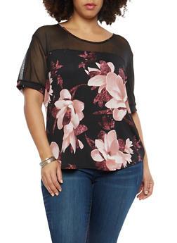 Plus Size Mesh Yoke Floral Top - 8429062705059