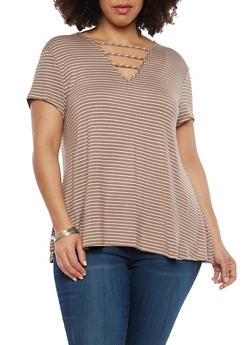 Plus Size Stripe Caged Neck Top - 8429062705060