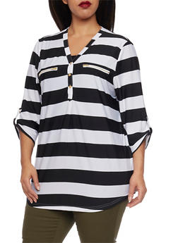 Plus Size Striped Top with Faux Zipper Pockets - 8429062705357