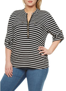 Plus Size Striped Top With Zip Front,BLACK,medium