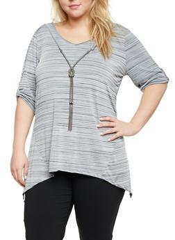 Plus Size Sharkbite Top with Faux Necklace - 8429062706408