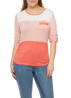 Plus Size Striped Top with Zip Accent - 8429062706435