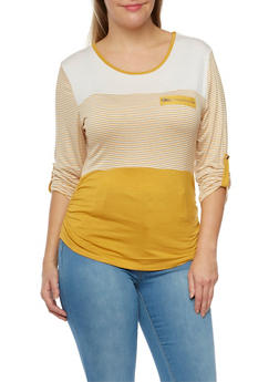 Plus Size Striped Top with Zip Accent - MUSTARD - 8429062706435