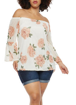 Plus Size Off the Shoulder Floral Mesh Top - 8429062708961