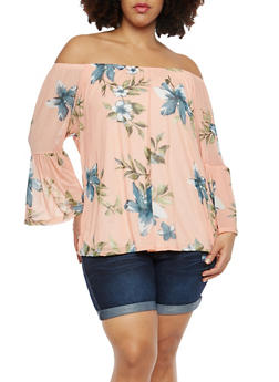Plus Size Off the Shoulder Floral Mesh Top - 8429062708961