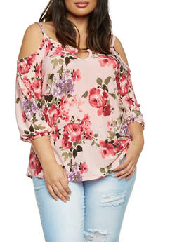 Plus Size Satin Cold Shoulder Floral Print Top - 8429072245548