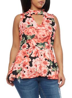Plus Size Floral Peplum Scuba Knit Top - 8429072245844