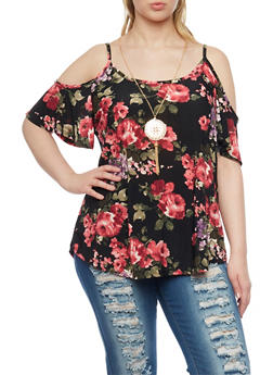 Plus Size Cold Shoulder Floral Print Top - 8429072245877