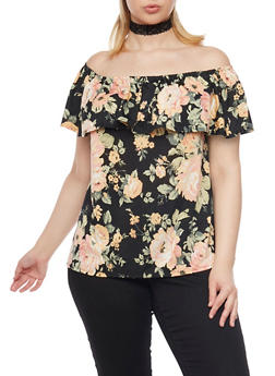 Plus Size Off the Shoulder Top with Floral Print - 8429072245880