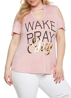 Plus Size Cold Shoulder Wake Pray Slay Graphic Choker Top - 8429073413950