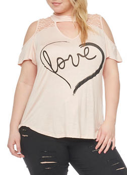 Plus Size Lace Yoke Cold Shoulder Top with Love Graphic - 8429073414057