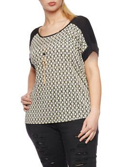 Plus Size Printed Top with Necklace - 8429073504306