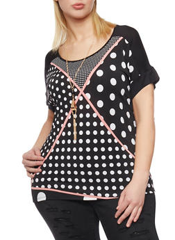 Plus Size Geometric Polka Dot Top with Necklace - 8429073506034