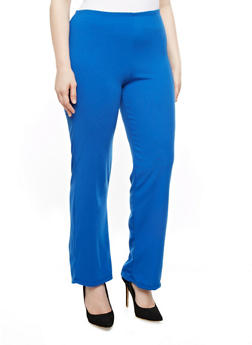 Plus Size Solid Knit Trousers - 8434020621530