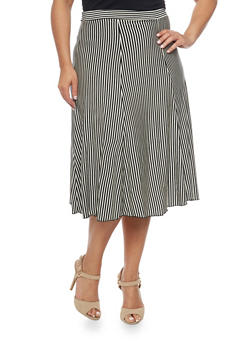 Plus Size Striped A Line Midi Skirt - 8437020623328