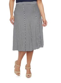 Plus Size Striped A Line Midi Skirt - 8437020623328