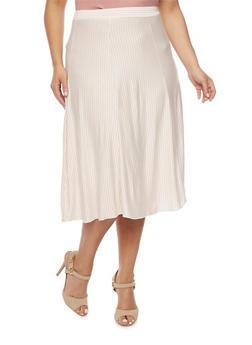 Plus Size Striped A Line Midi Skirt - BLUSH - 8437020623328