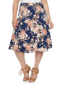 Plus Size Floral A Line Skirt - NAVY - 8437020623928