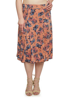 Plus Size Floral A Line Skirt - BLUSH - 8437020623928