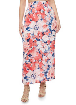 Plus Size High Waisted Floral Maxi Skirt - 8437020624440