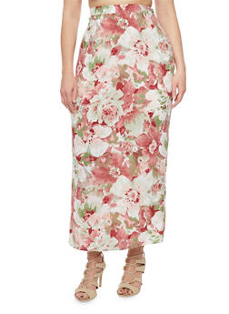 Plus Size High Waisted Floral Maxi Skirt - ROSE - 8437020624440