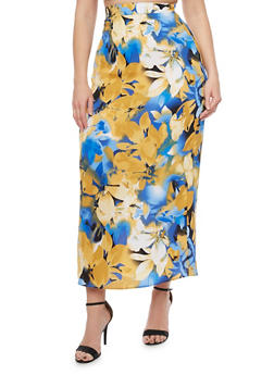 Plus Size High Waisted Floral Maxi Skirt - DENIM - 8437020624440