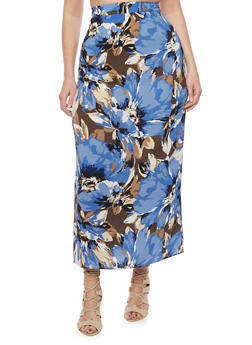 Plus Size High Waisted Floral Maxi Skirt - ROYAL - 8437020624440