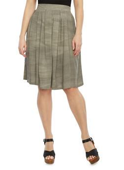 Plus Size Midi Skirt With Pleats,GRAY,medium