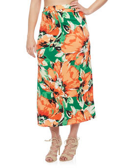Plus Size Floral Print Maxi Skirt - GREEN - 8437020629684