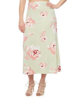 Plus Size Floral Print Maxi Skirt - SAGE - 8437020629684