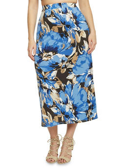 Plus Size Floral Print Maxi Skirt - NAVY - 8437020629684