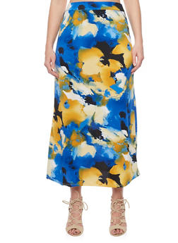 Plus Size Floral Print Maxi Skirt - MUSTARD - 8437020629684