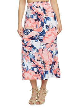 Plus Size Floral Print Maxi Skirt - DENIM - 8437020629684