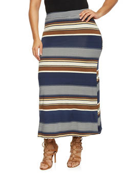 Plus Size Floral Print Maxi Skirt - TAUPE - 8437020629684