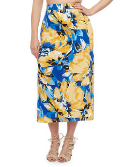 Plus Size Floral Print Maxi Skirt - ROYAL - 8437020629684