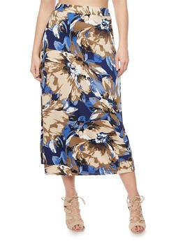 Plus Size Floral Print Maxi Skirt - MOCHA - 8437020629684