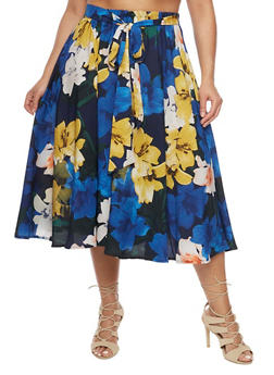 Plus Size Floral Tie Waist Skater Skirt - 8437056126971
